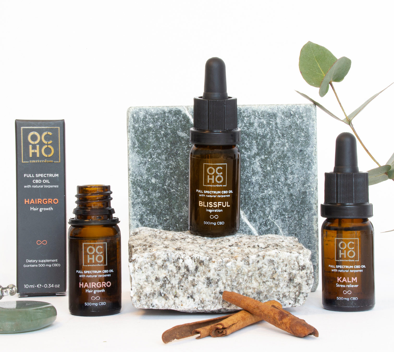 Ocho CBD oils packaging design and set composition
