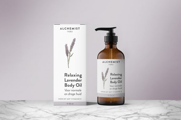 Label and packaging design and illustration for lavender body oil