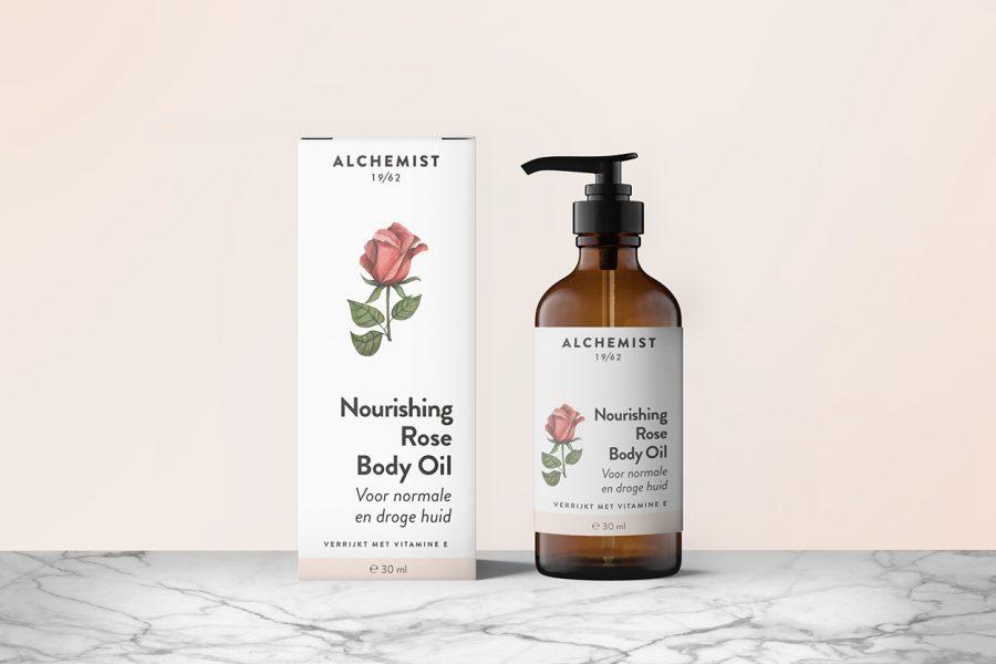Alchemist Rose body oil packaging
