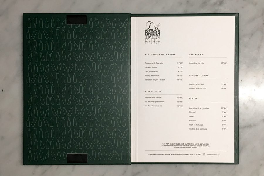 Menu design for la Barra d'en regue